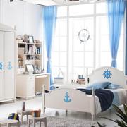 蓝色儿童卧室背景墙