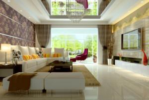 120平米现代简约客厅电视背景墙装修效果图