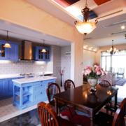 舒适蓝色开放式厨房橱柜
