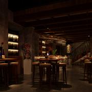 深色调酒吧吊顶设计
