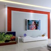 客厅白色靓丽电视背景墙