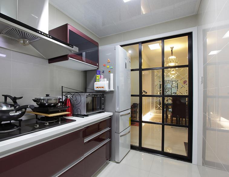 平米时尚欧式 厨房推拉门装修效果图