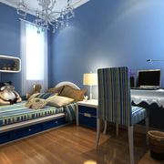 儿童卧室蓝色背景墙