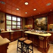 美式厨房红色吊顶