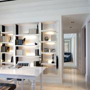 白色摩登书房书架