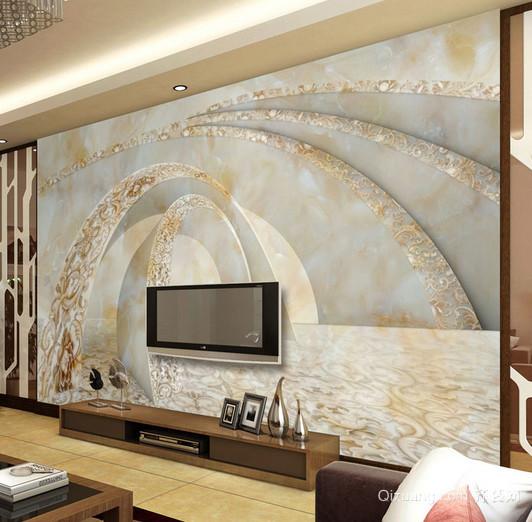 逼真客厅3d立体画电视背景墙装修效果图