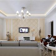 客厅浅色系电视背景墙