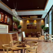 咖啡店木地板效果图