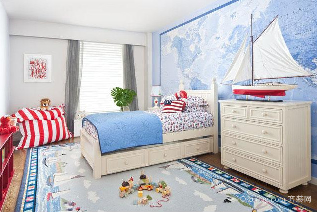 90平米地中海风格儿童房背景墙装修效果图
