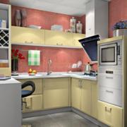 开放式厨房米黄色橱柜