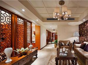 令人陶醉的现代中式客厅木制屏风装修效果图