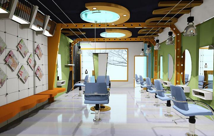 90平米 高端美发店装修 效果图 装修 效果