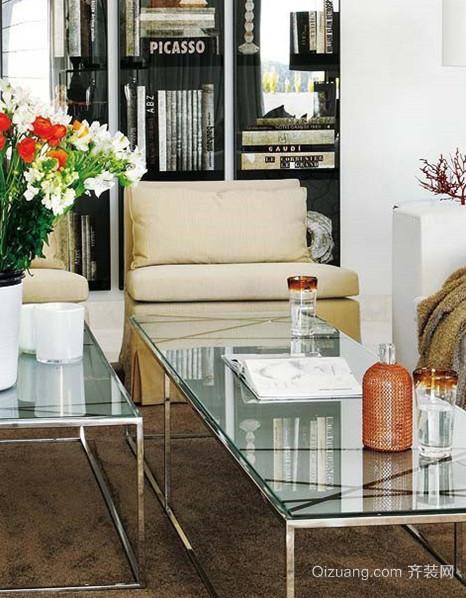 2015现代风格客厅创意玻璃茶几装修设计效果图鉴赏