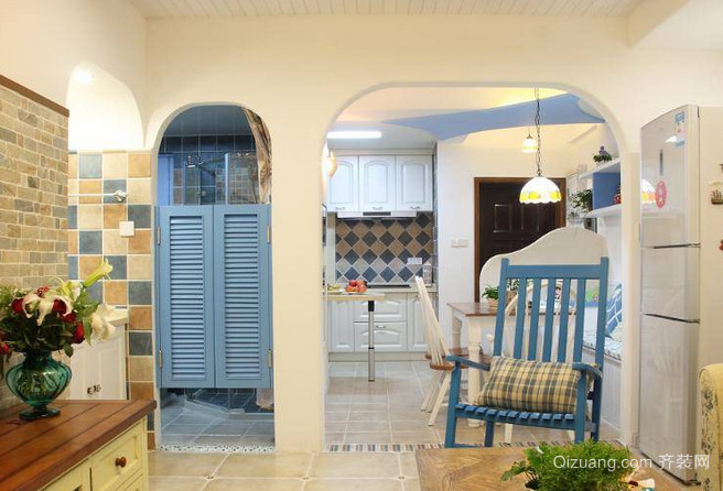 浪漫地中海风格单身公寓装修效果图