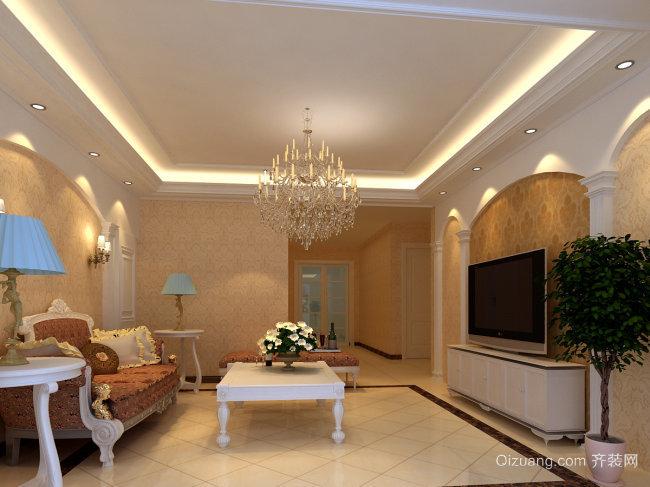 90平米现代欧式客厅电视背景墙装修效果图