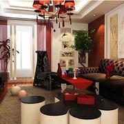 中式深色婚房客厅