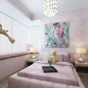 甜美粉色调儿童房