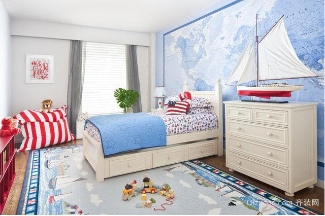 2015最新小户型地中海风格儿童房背景墙装修效果图