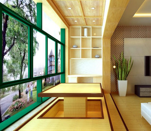 采光性良好的大户型现代欧式阳台榻榻米装修效果图