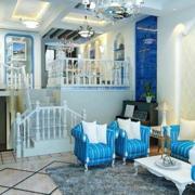 蓝色调客厅装修大全
