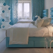 蓝白色调卧室设计图片