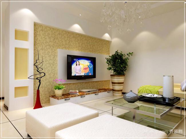 2015三室二厅欧式客厅电视背景墙装修效果图
