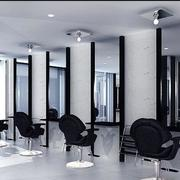 后现代风格深色系理发店吊顶装饰
