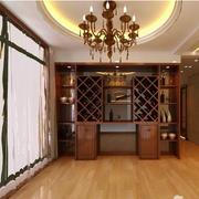三室一厅简约原木美式酒柜装饰