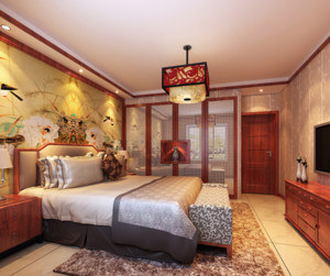 中式风格房间壁纸装饰