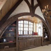 美式复古原木阁楼客厅置物架装饰