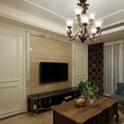 复式楼简约风格电视背景墙隐形门装饰
