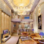 欧式楼中楼简约风格客厅圆形吊顶装饰