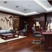 中式原木办公室效果图