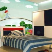 自然清新儿童房床头背景墙装饰