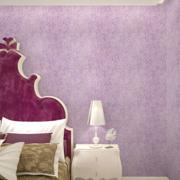 三室一厅卧室紫色系背景墙装饰
