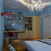浅蓝色系儿童房背景墙装饰