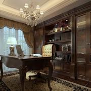 欧式别墅深色系书房书柜装饰