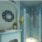 地中海简约蓝色卫生间瓷砖
