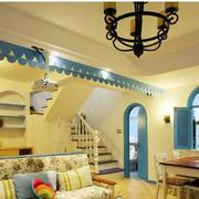 地中海风格客厅置物架装饰