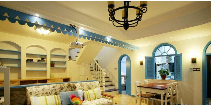 地中海浪漫楼中楼装修效果图