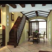 地中海风格简约深色原木系楼梯装饰