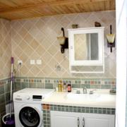 简约风格家庭卫生间原木吊顶装饰