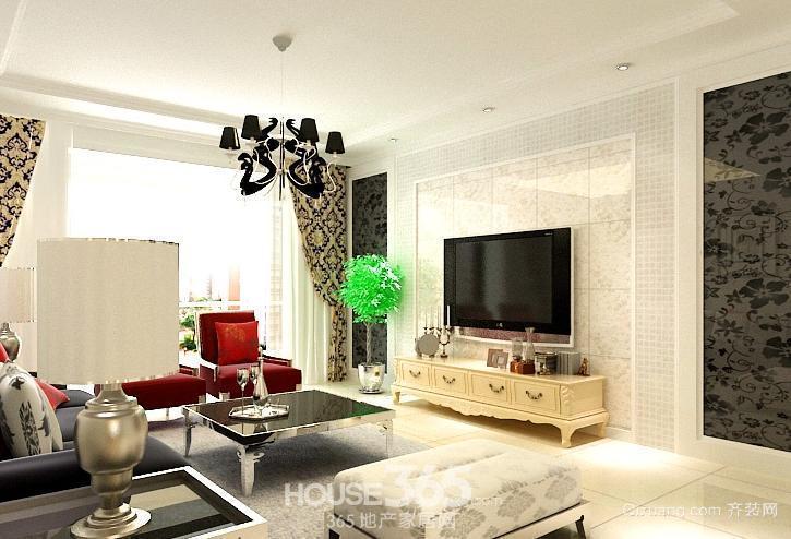 三室一厅简约电视背景墙装修效果图