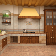 美式简约风格厨房原木吊顶装饰
