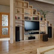 日式简约风格阁楼原木客厅装饰