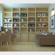 简约整体式书房书柜装饰
