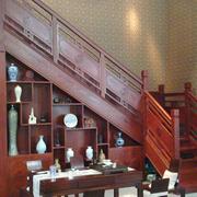 中式简约风格红木楼梯装饰