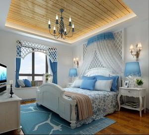 120平米大户型现代地中海风格卧室背景墙装修效果图