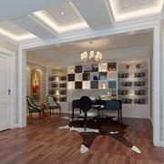 欧式浅色系大型书房书柜装饰