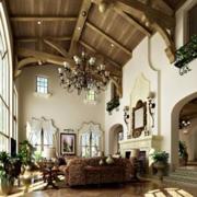 美式原木挑空客厅原木吊顶装饰
